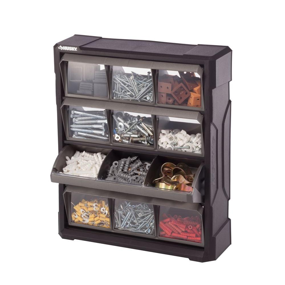 the husky compartment small home b organizers organizer drawer tool storage bin n depot parts black tools