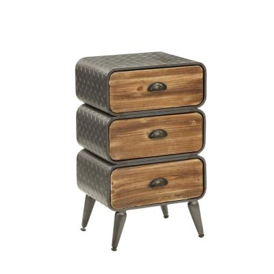 Stacked Design 3-Drawer Gray and Brown Metal Frame Accent Storage Chest Splayed Legs 26 in. H x 16.5 in. W x 11.75 in. L