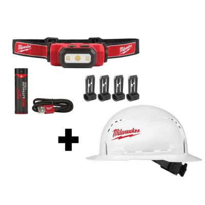 475 Lumens LED Rechargeable Hard Hat Headlamp w/BOLT White Type 1 Class C Full Brim Vented Hard Hat
