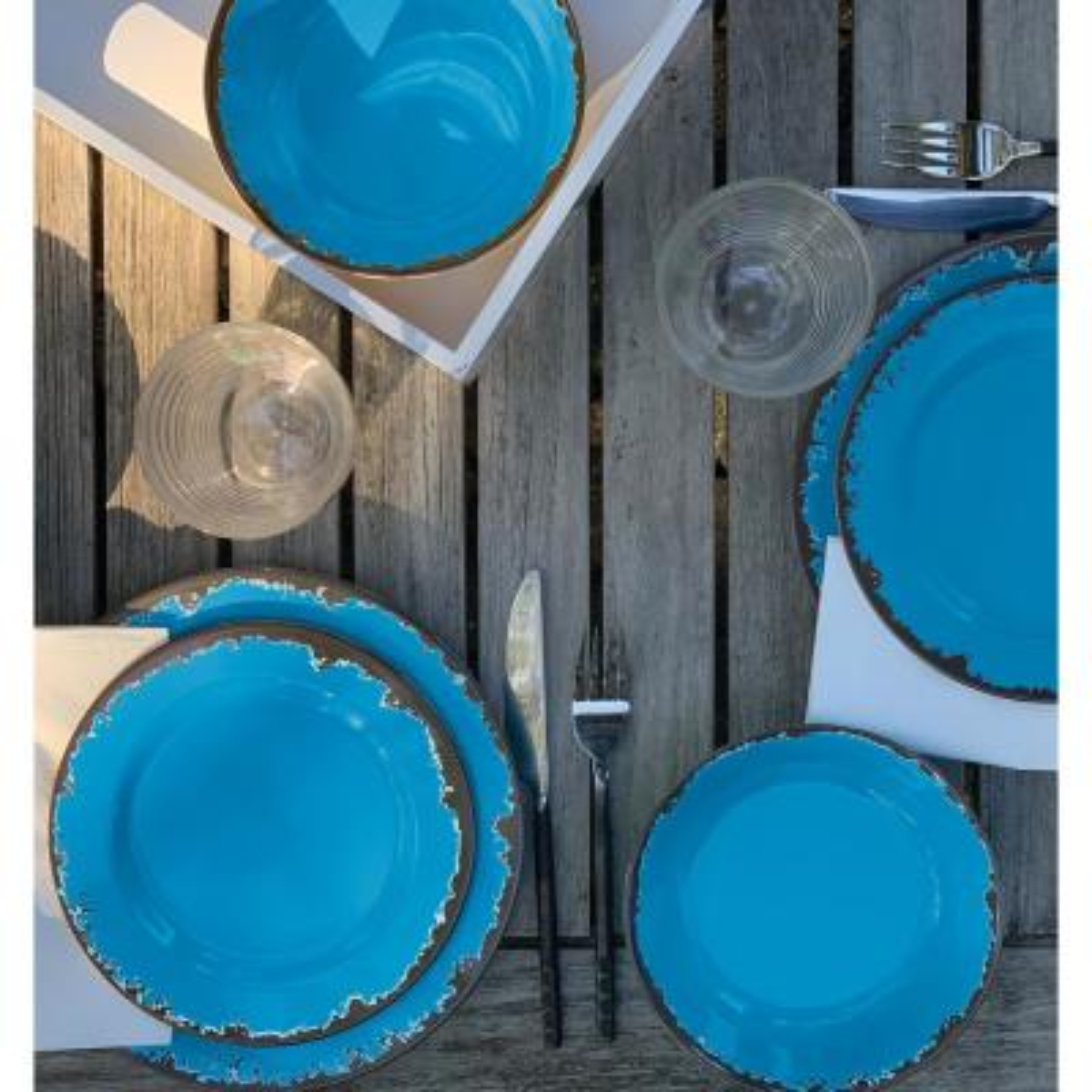12-Piece Rustic Blue Melamine Resin Dinnerware Set (Service for 4)
