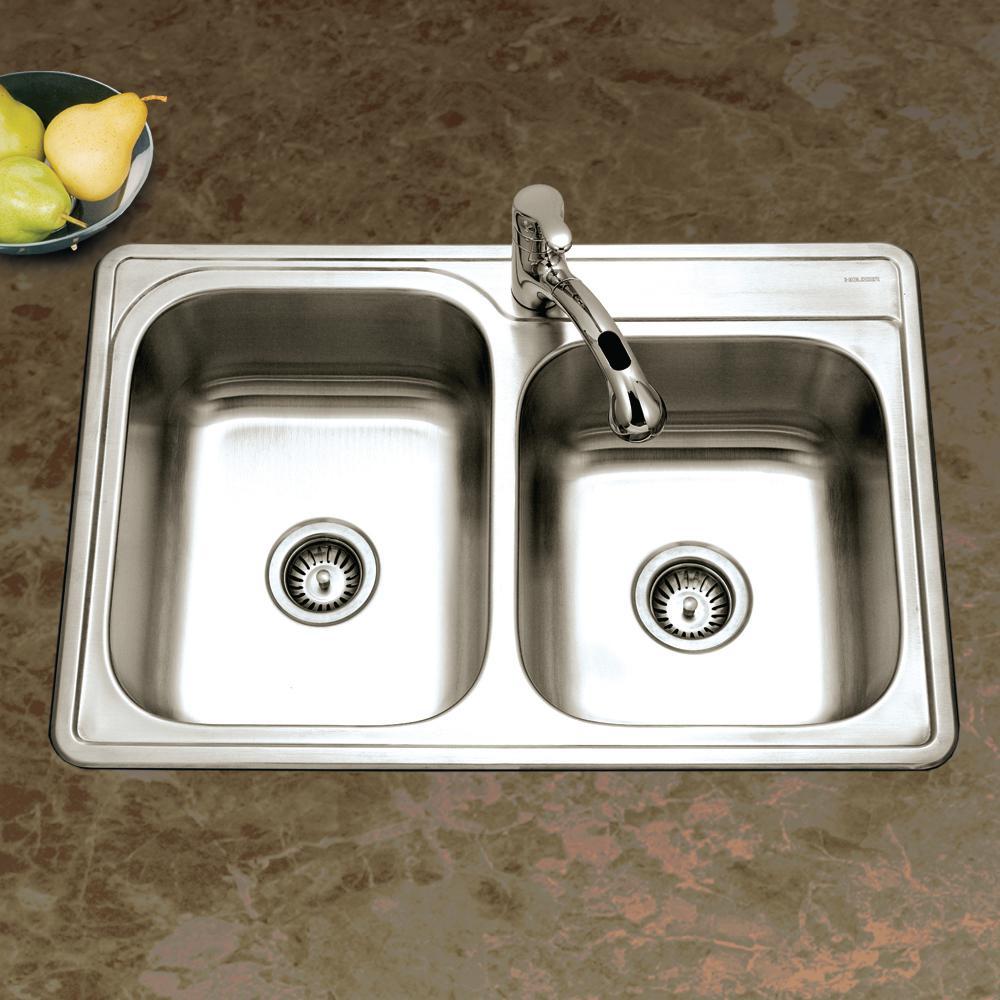 Houzer ISL-3322BS1-1 Glowtone Series Topmount Stainless Steel 1-hole 60//40 Double Bowl Kitchen Sink