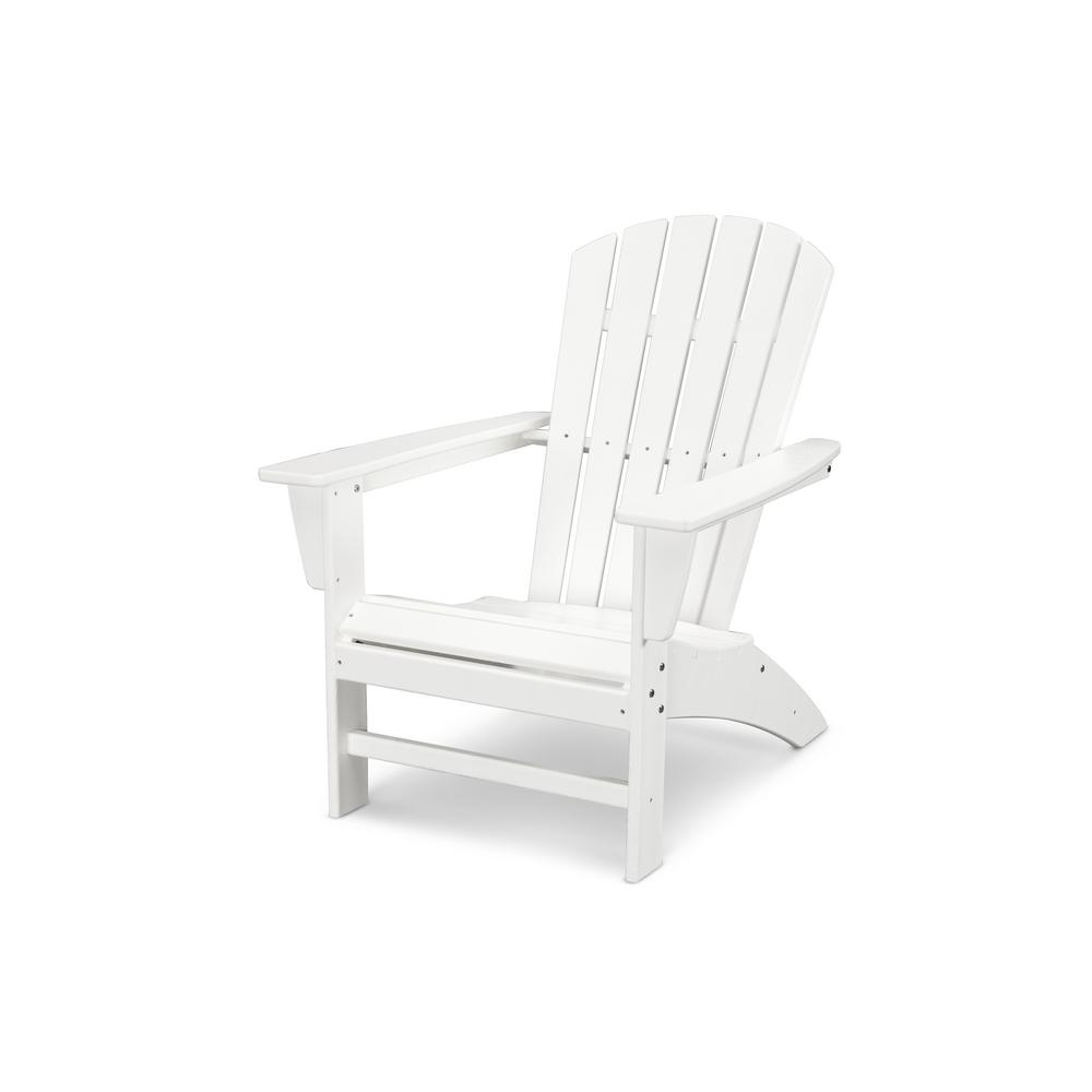Merveilleux POLYWOOD Traditional Curveback White Plastic Outdoor Patio Adirondack Chair