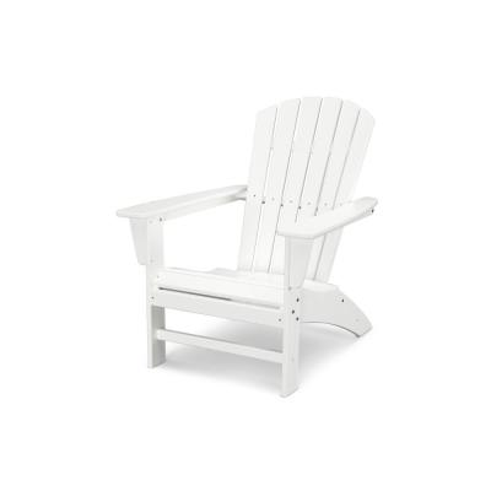 Grant ParkTraditional Curveback White Plastic Outdoor Patio Adirondack Chair