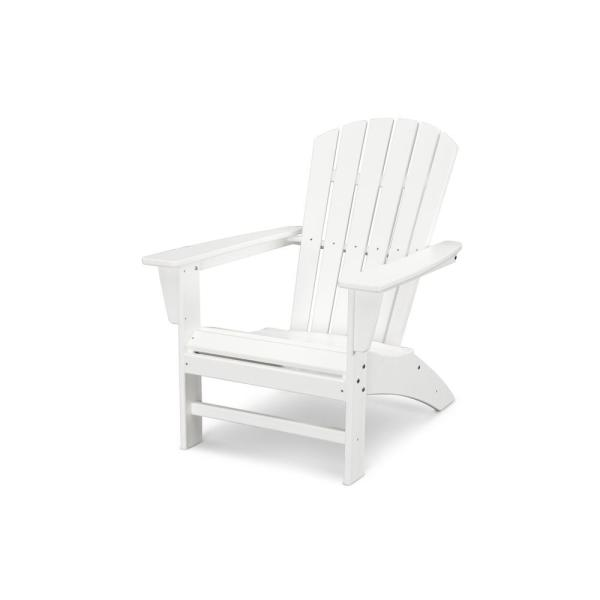 Grant Park Traditional Curveback White Plastic Outdoor Patio Adirondack Chair