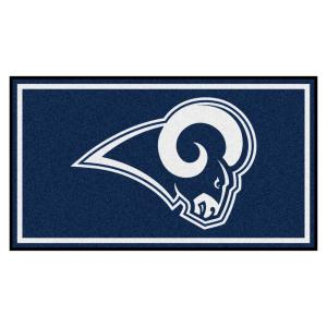 86f54042 FANMATS Los Angeles Rams Blue Man Cave 5 ft. x 6 ft. Area Rug-14375 ...