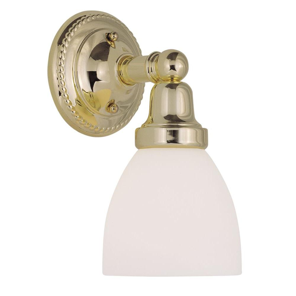 Livex Lighting 1-Light Polished Brass Bath Light with Satin Glass Shade