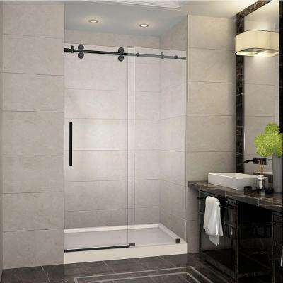 Langham 48 in. x 77.5 in. Completely Frameless Sliding Shower Door in Oil Rubbed Bronze with Center Base
