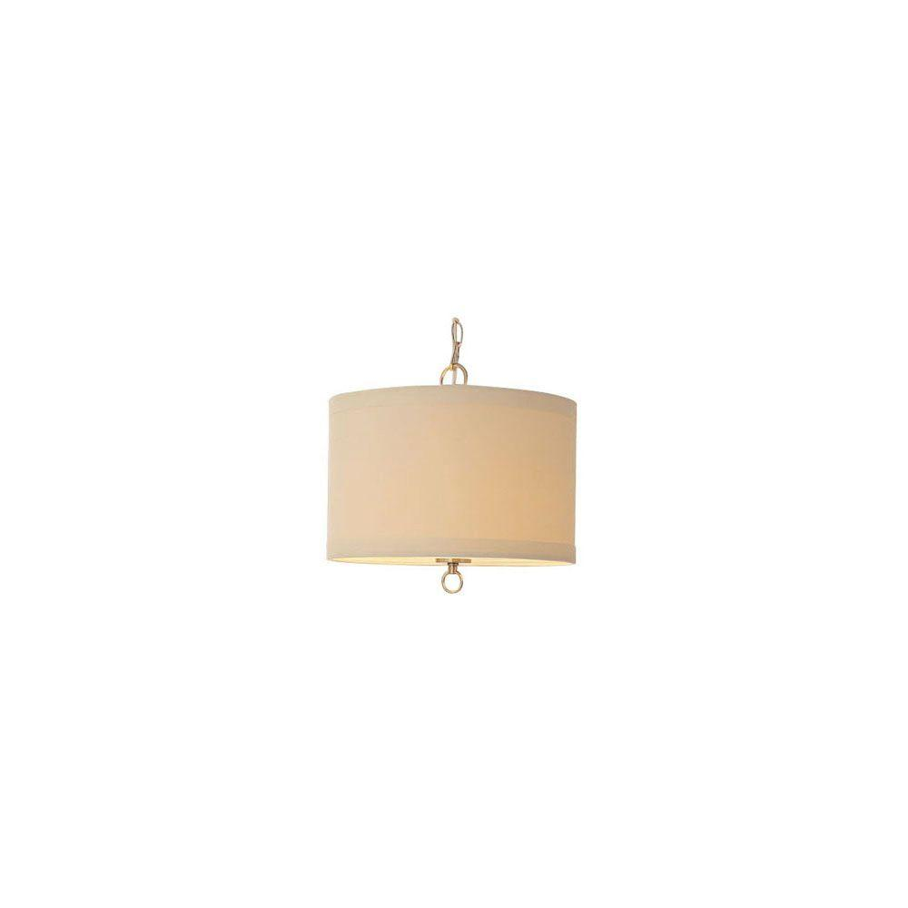 Drum hampton bay pendant lights lighting the home depot 1 light brushed nickel linen drum pendant with hardwire or plug in kit aloadofball