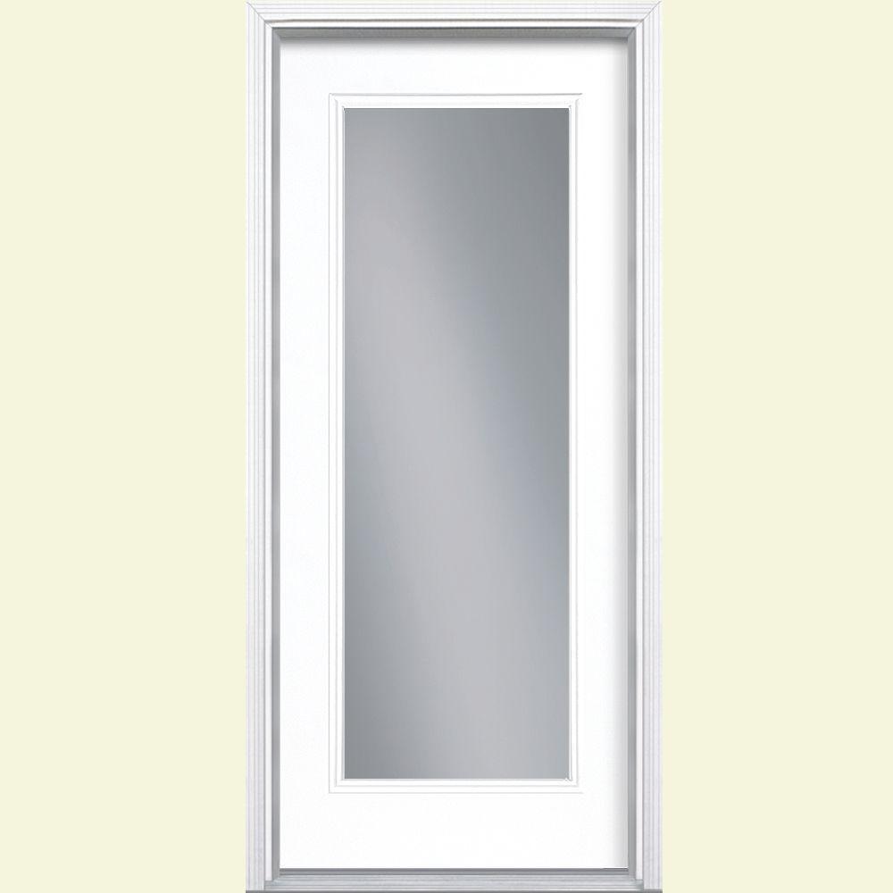 36 in. x 80 in. Full Lite Left Hand Inswing Painted Smooth Fiberglass Prehung Front Door w/ Brickmold, Vinyl Frame