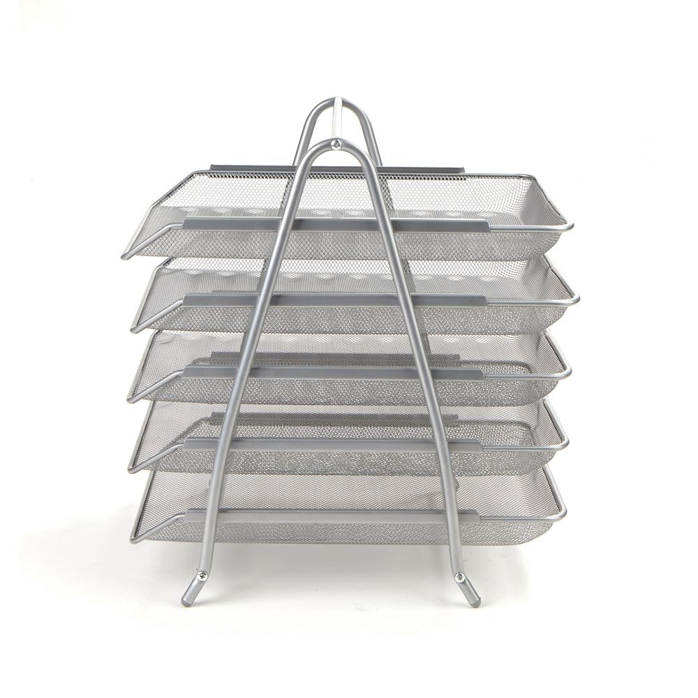 Mind Reader 5 Tier Steel Mesh Paper Tray Desk Organizer Silver
