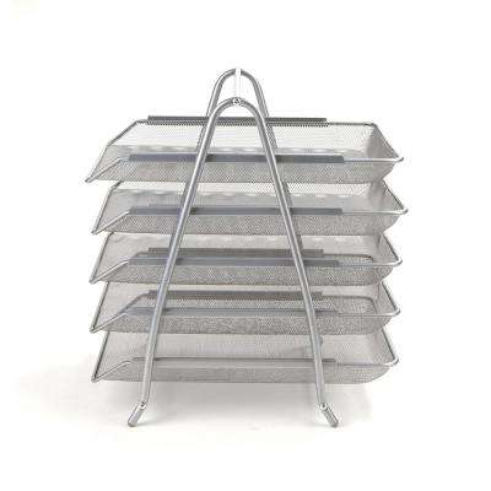 5-Tier Steel Mesh Paper Tray Desk Organizer, Silver