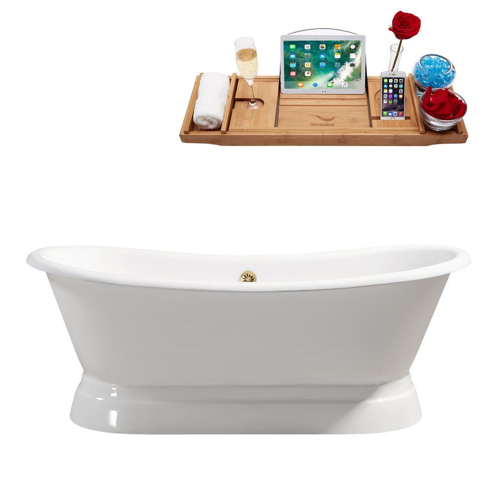 71.3 in. Cast Iron Flatbottom Non-Whirlpool Bathtub in Glossy White