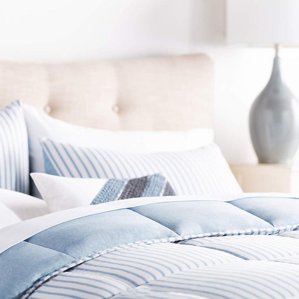 Striped Reversible Chambray Comforter Set