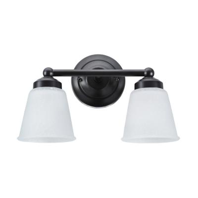 2-Light Bronze Vanity Light with Frosted Seeded Glass Shade
