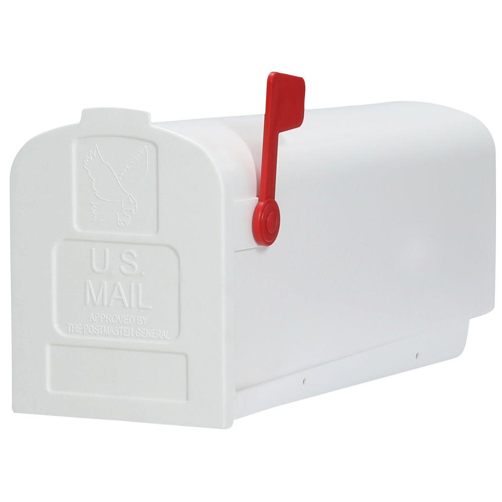 Gibraltar Mailboxes Deluxe Polybox Post-Mount Mailbox, White