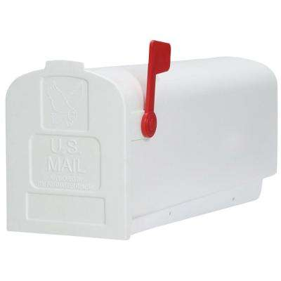 Deluxe Polybox Post-Mount Mailbox, White