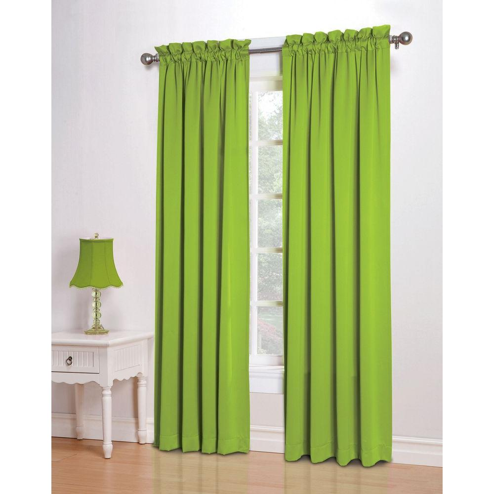 Sun Zero Semi-Opaque Lime Gregory Room Darkening Pole Top Curtain Panel, 54 in. W x 84 in. L