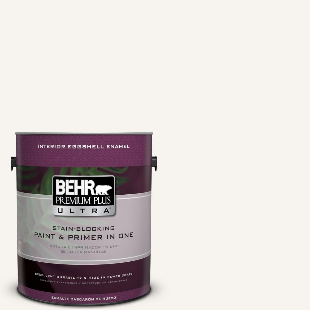 BEHR Premium Plus Ultra 1 gal. #75 Polar Bear Eggshell Enamel Interior Paint and Primer in One