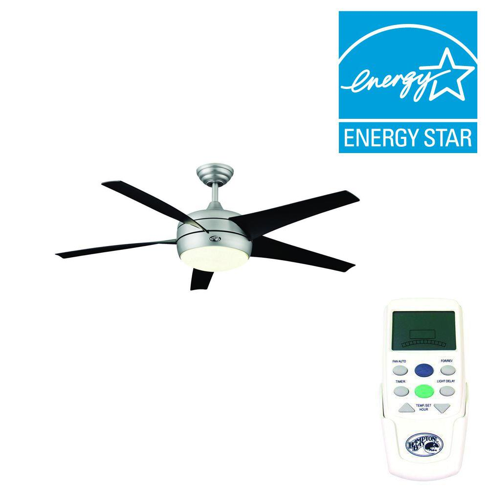 Hampton Bay Windward II 54 in. Indoor Brushed Steel Ceiling Fan with Light Kit and Remote Control