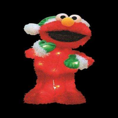 18 in. Pre-Lit LED Elmo with Green Santa Hat and Mittens