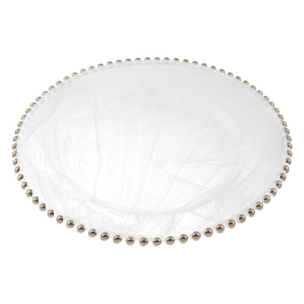 Silver Beaded 13 in. White Alabaster Handmade Glass Charger