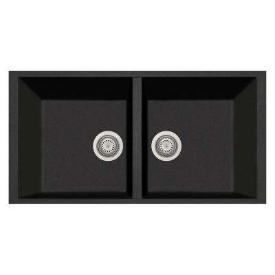 Elegance Drop-in Granite Composite 22 in. 1-Hole Double Bowl Kitchen Sink in Black Metallic