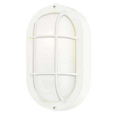 1-Light White on Steel Exterior Wall Fixture with White Glass Lens