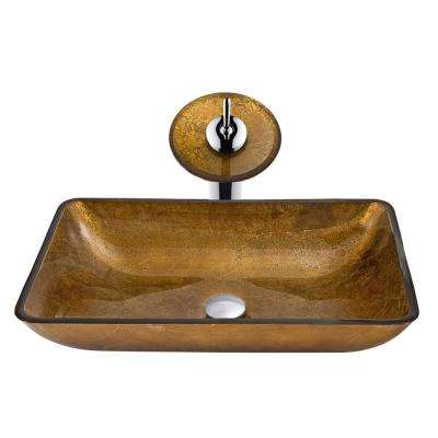Rectangular Glass Vessel Bathroom Sink in Copper with Waterfall Faucet in Chrome