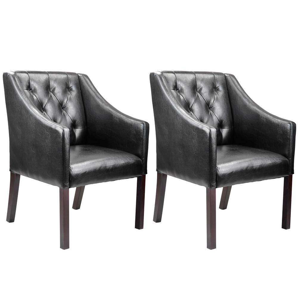Antonio Black Bonded Leather Accent Club Chair (Set of 2)
