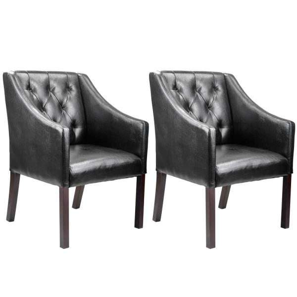 CorLiving Antonio Black Bonded Leather Accent Club Chair (Set of 2)