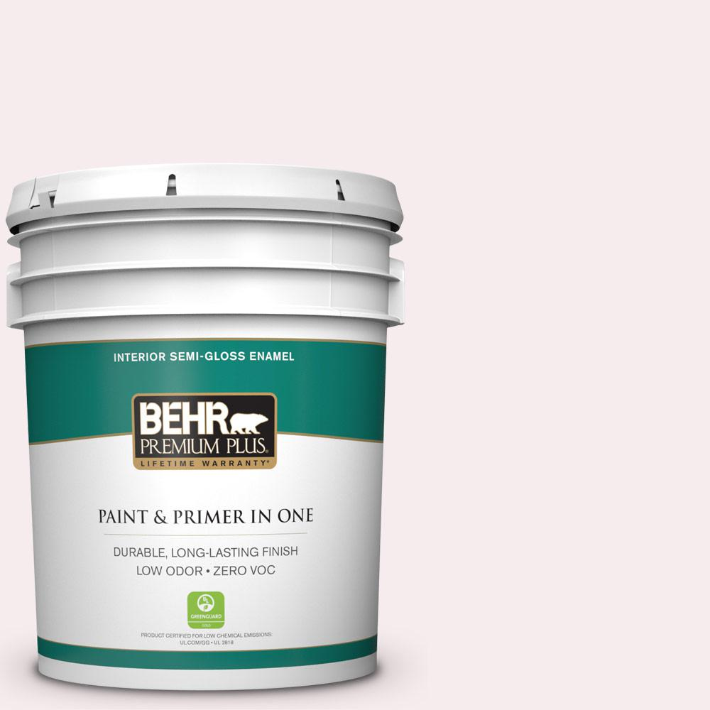 BEHR Premium Plus 5-gal. #680E-1 First Blush Zero VOC Semi-Gloss Enamel Interior Paint