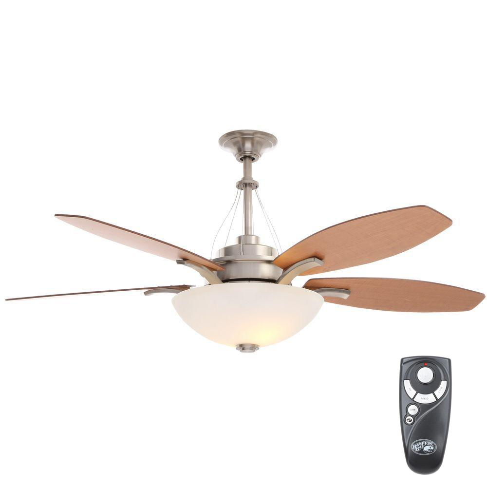 Hampton Bay Brookedale 60 In Indoor Brushed Nickel Ceiling Fan With Light Kit And Remote