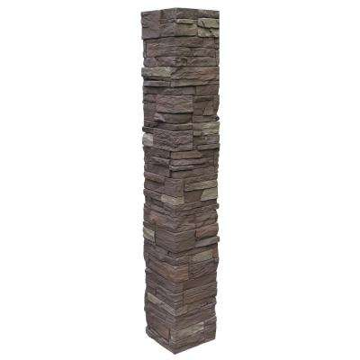 Country Ledgestone 8 in. x 8 in. x 47 in. Himalayan Brown Polyurethane Faux Stone Split Post Cover (2-Piece)