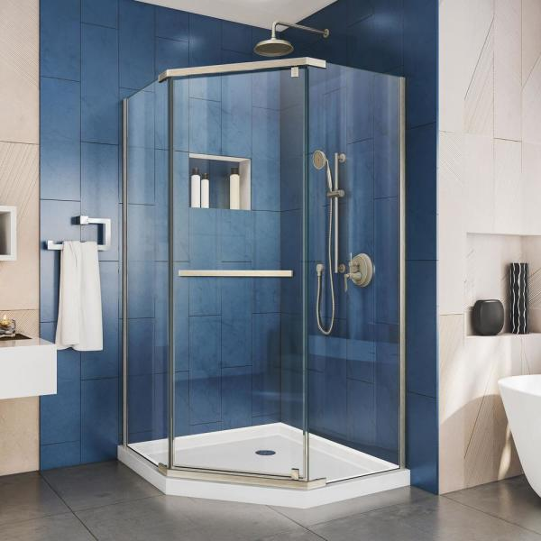 Prism 36 in. x 36 in. x 74.75 in. Semi-Frameless Pivot Neo-Angle Shower Enclosure in Brushed Nickel with White Base