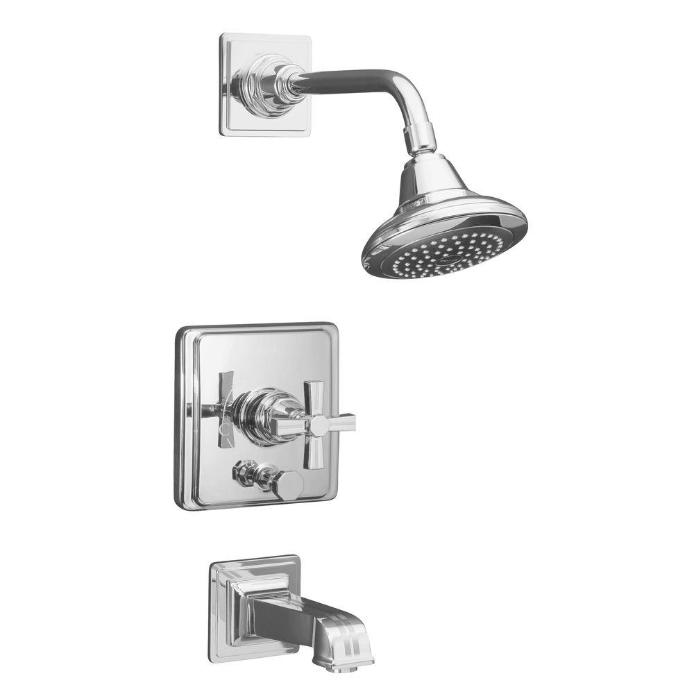 kohler pinstripe single handle ritetemp faucet trim in polished chrome