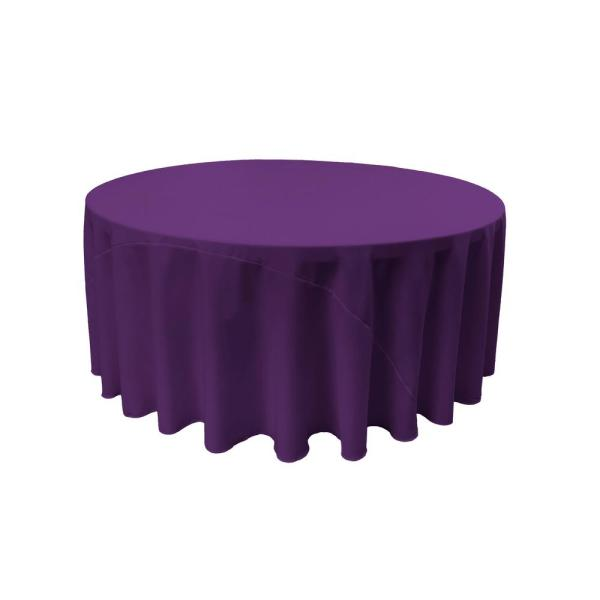 132 in. Round Purple Polyester Poplin Tablecloth