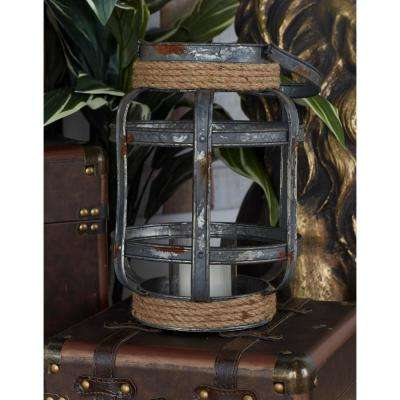 12 in. Iron Gray Cross-Weave Candle Lantern with Jute Wrap