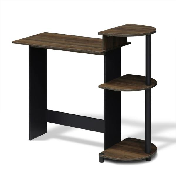 Furinno Compact Columbia Walnut/Black Computer Desk with Shelves