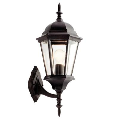Madison 22.75 in. 1-Light Tannery Bronze Outdoor Wall Mount Lantern with Clear Beveled Glass Panels