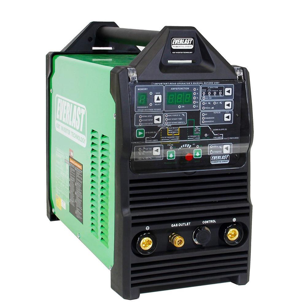 250 Amp PowerTIG 255EXT IGBT Digital Inverter AC/DC Stick/TIG Welder with High Frequency and Lift TIG Start, 120V/240V