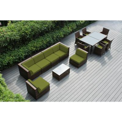 Mixed Brown 14-Piece Wicker Patio Combo Conversation Set with Supercrylic Peridot Cushions