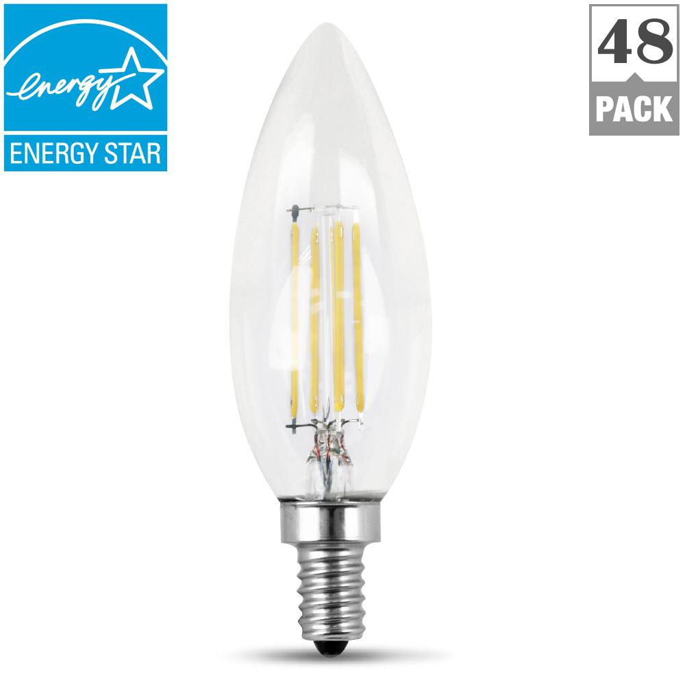 40W Equivalent Soft White (2700K) B10 Candelabra Dimmable Filament LED Clear