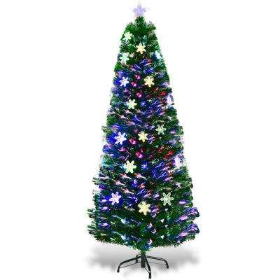 6 ft. Pre-Lit Fiber Optic Artificial Christmas Tree with Multi-Color Lights Snowflakes