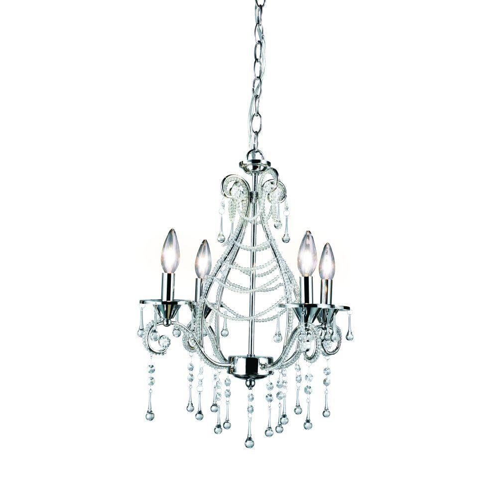 Eurofase Prelude Collection 4-Light 92-1/4 in. Hanging Chrome Chandelier-DISCONTINUED