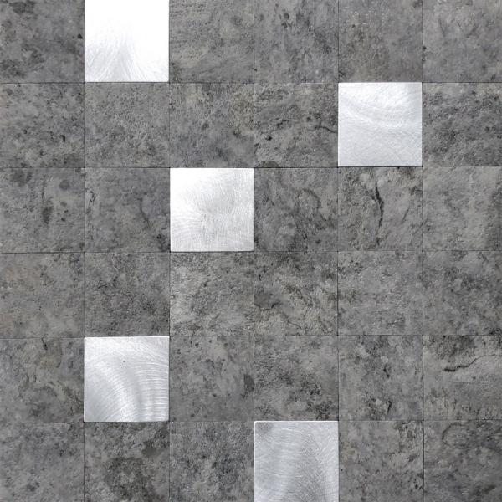 DIP Cement Silver Mosaic Tile 12 in. x 12 in. Self-Adhesive PVC Backsplash (10 pack)