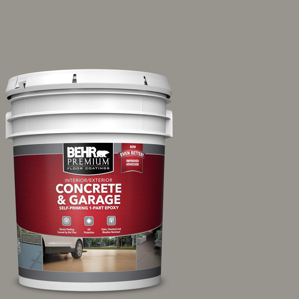 BEHR PREMIUM 5 gal. #N360-4 Battleship Gray Self-Priming 1-Part Epoxy Satin Interior/Exterior Concrete and Garage Floor Paint