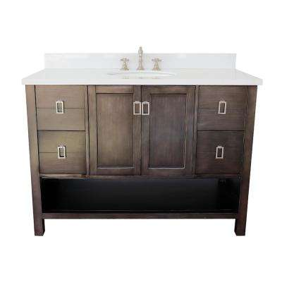 Monterey 49 in. W x 22 in. D Bath Vanity in Brown with Quartz Vanity Top in White with White Oval Basin