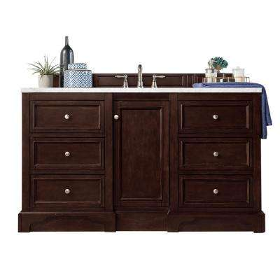 De Soto 60 in. W Single Bath Vanity in Burnished Mahogany with Soild Surface Vanity Top in Arctic Fall with White Basin