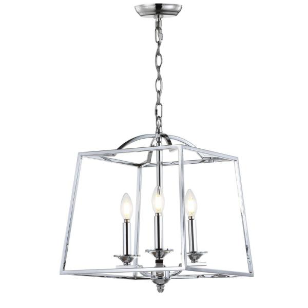 Gloria 14.5 in. 3-Light Chrome Metal LED Pendant