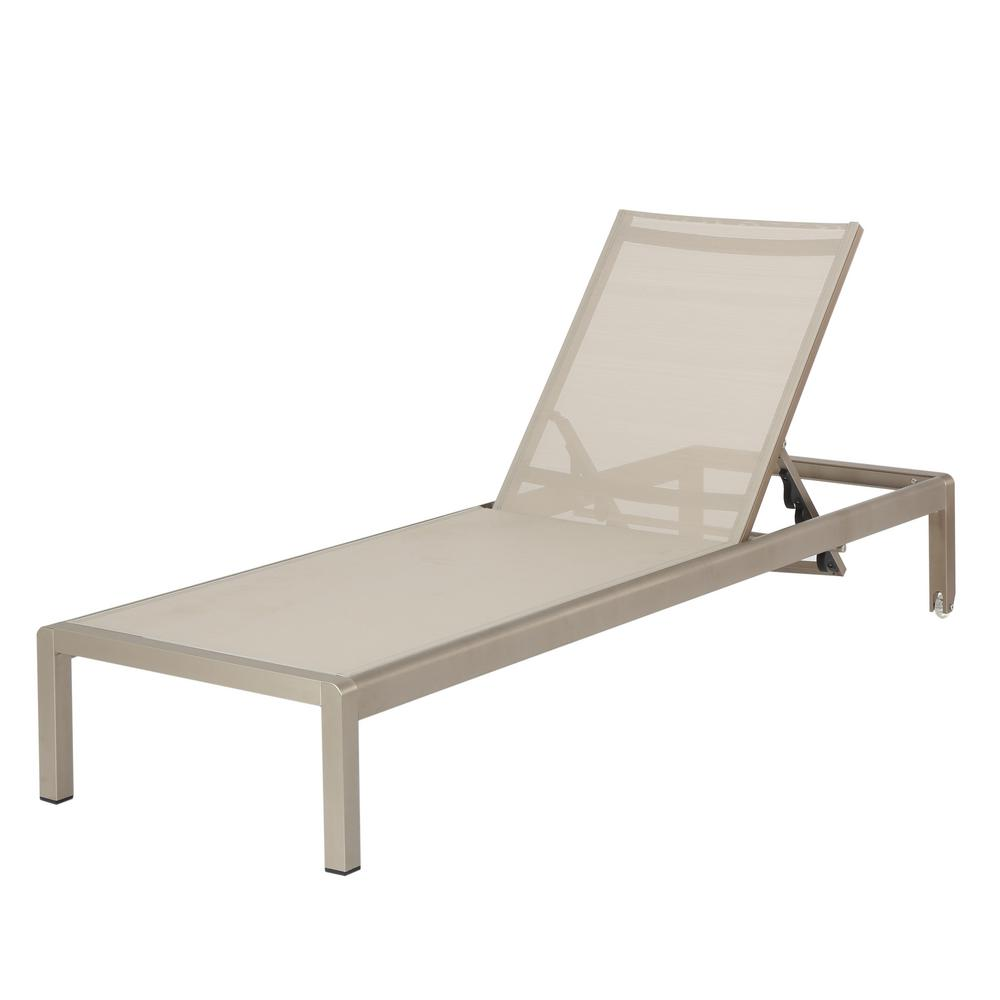 Noble House Cape Coral Silver 1-Piece Metal Outdoor Chaise Lounge